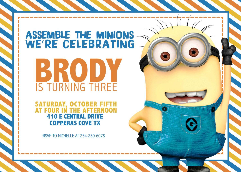 Minion Birthday InvitationDigital File Only by KLacapra on Etsy ...