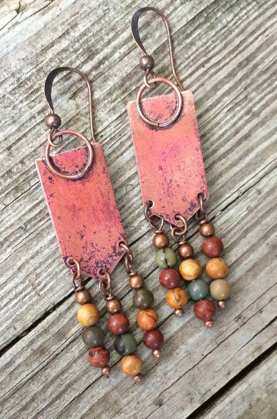 Photo of Bohemian Dangle Earrings, Boho Jewelry Earrings, Copper Dangle Earrings, Copper Stone Jewelry, Colorful Jewelry, Colorful Earrings