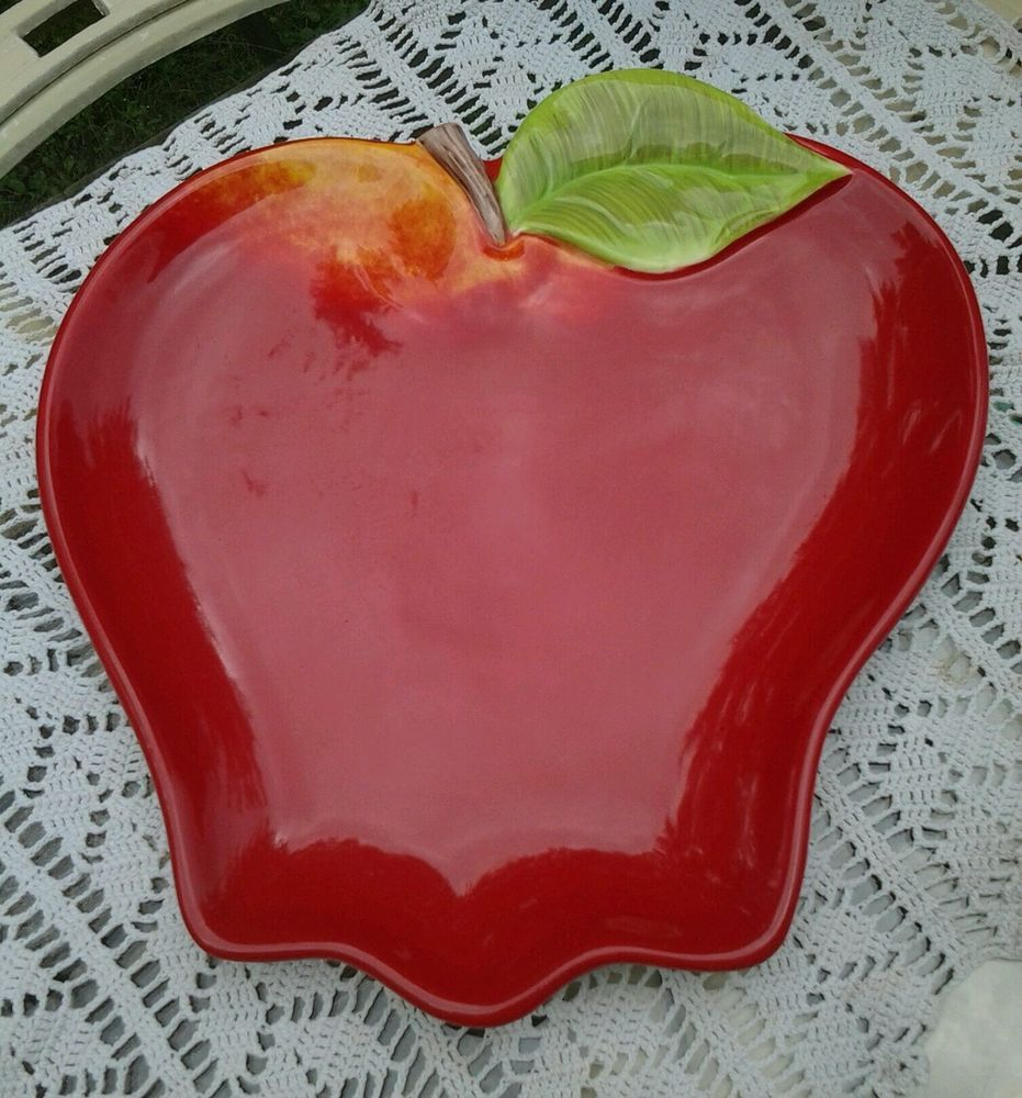 Certified international parisian fruit canister by susan winget set - Apple Shaped Ceramic 13 Serving Tray Plate Platter Susan Winget Design