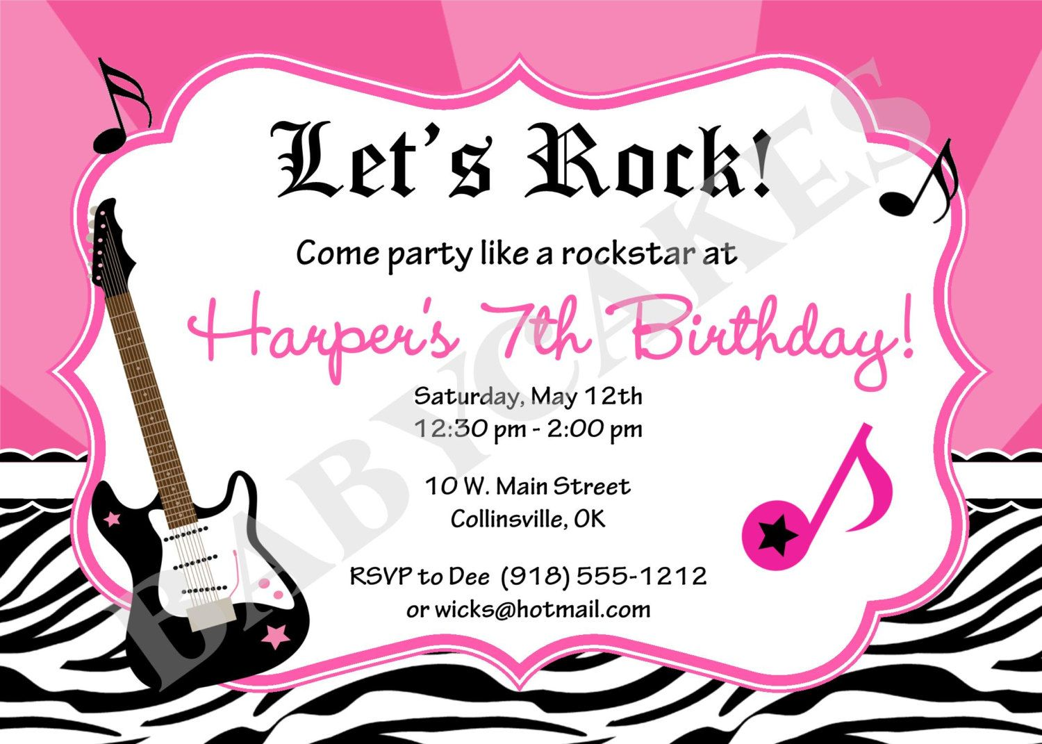 Rockstar Birthday Party Invitation Zebra Print by jcbabycakes ...
