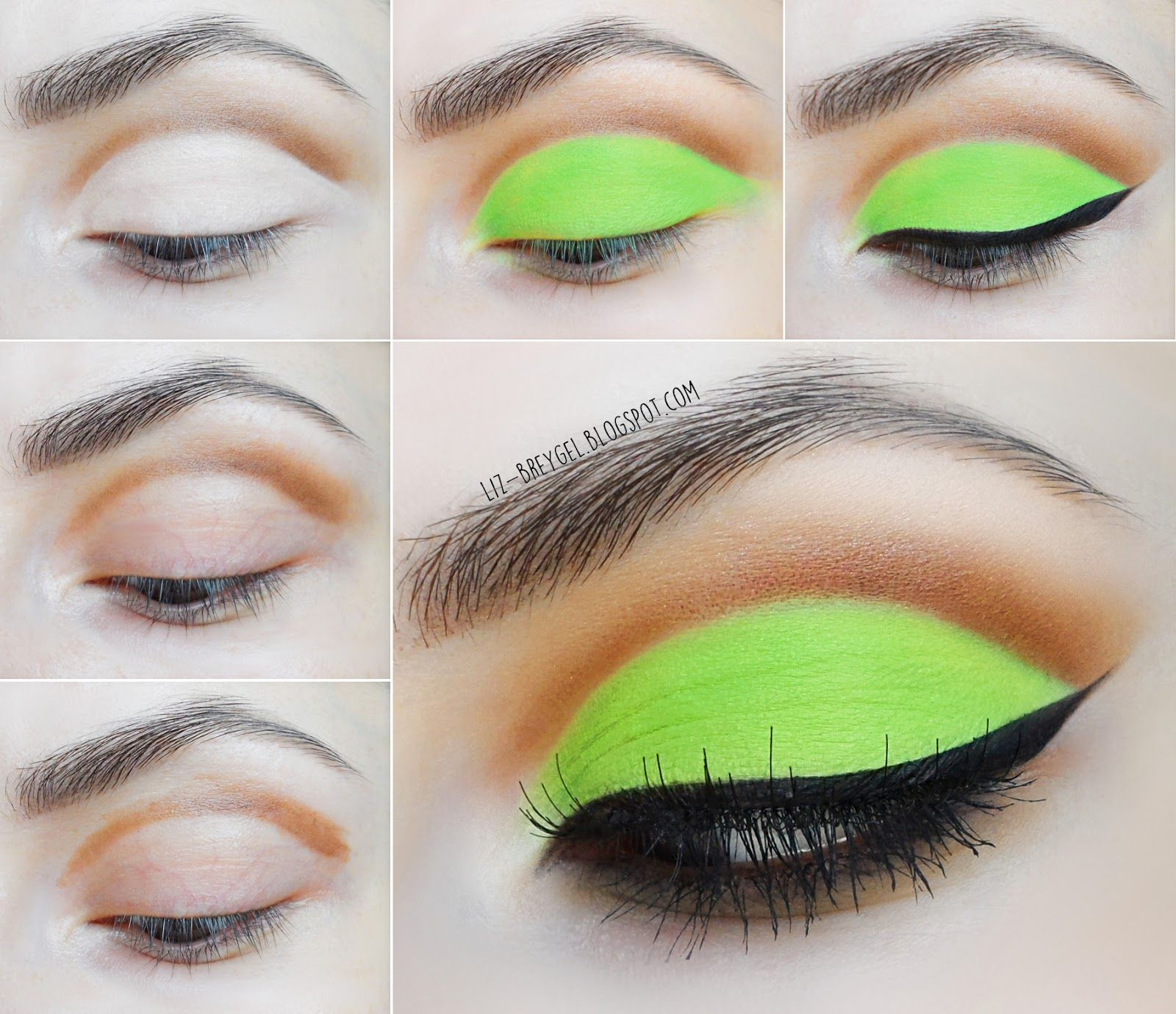 Liz breygel blogger makeup bright matte green step by step bright acid neon green eye makeup step by step tutorial summer zombie monster high makeup baditri Images