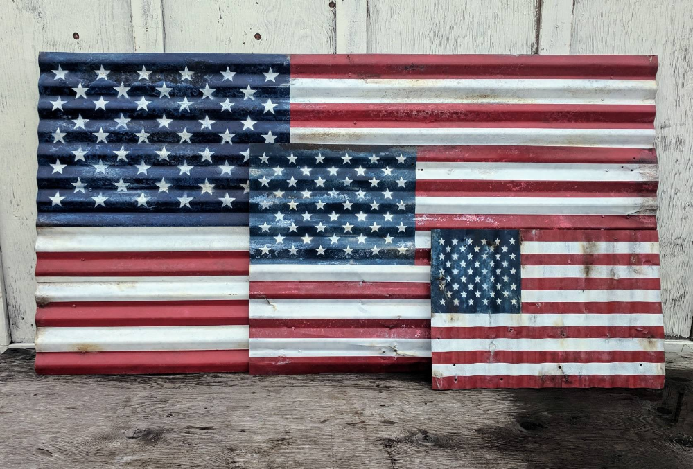 Rustic American Flag, Large Corrugated Metal American Flag - 6 foot, Distressed US Flag, Patriotic Home Decor, Rustic Wall Decor, Americana #americanflagart
