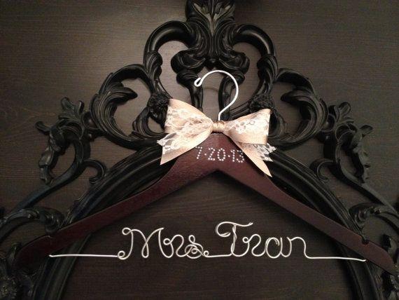 Bridal Hanger / Brides Hanger / Vintage Hanger / Name Hanger / Wedding Hanger / Personalized Bridal Gift / PEARL Wedding Date on Etsy, $32.00