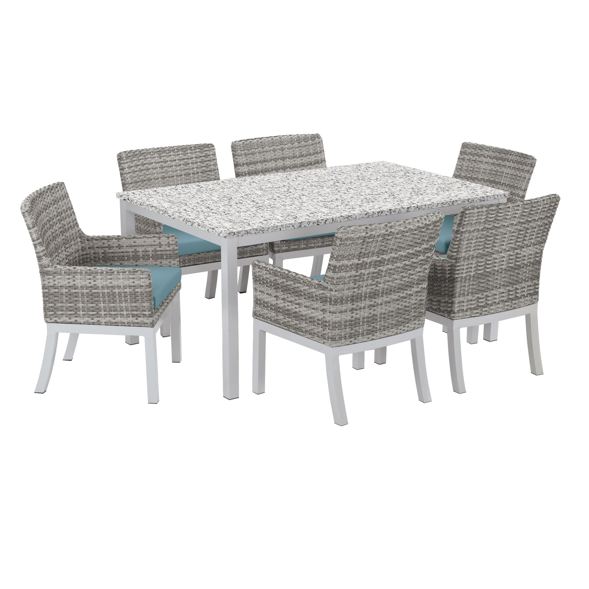 Travira 7pc dining set with 63x40 table powder coated aluminum lite core