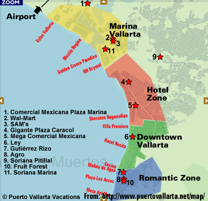 map of the supermarket locations in puerto vallarta