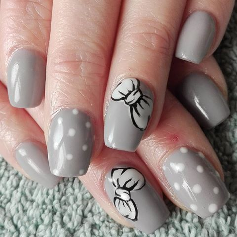 short square acrylic custom gellac grey hand painted