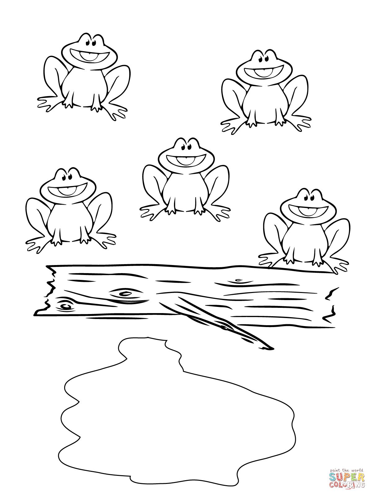 Five Little Speckled Frogs Coloring Page Supercoloring Com