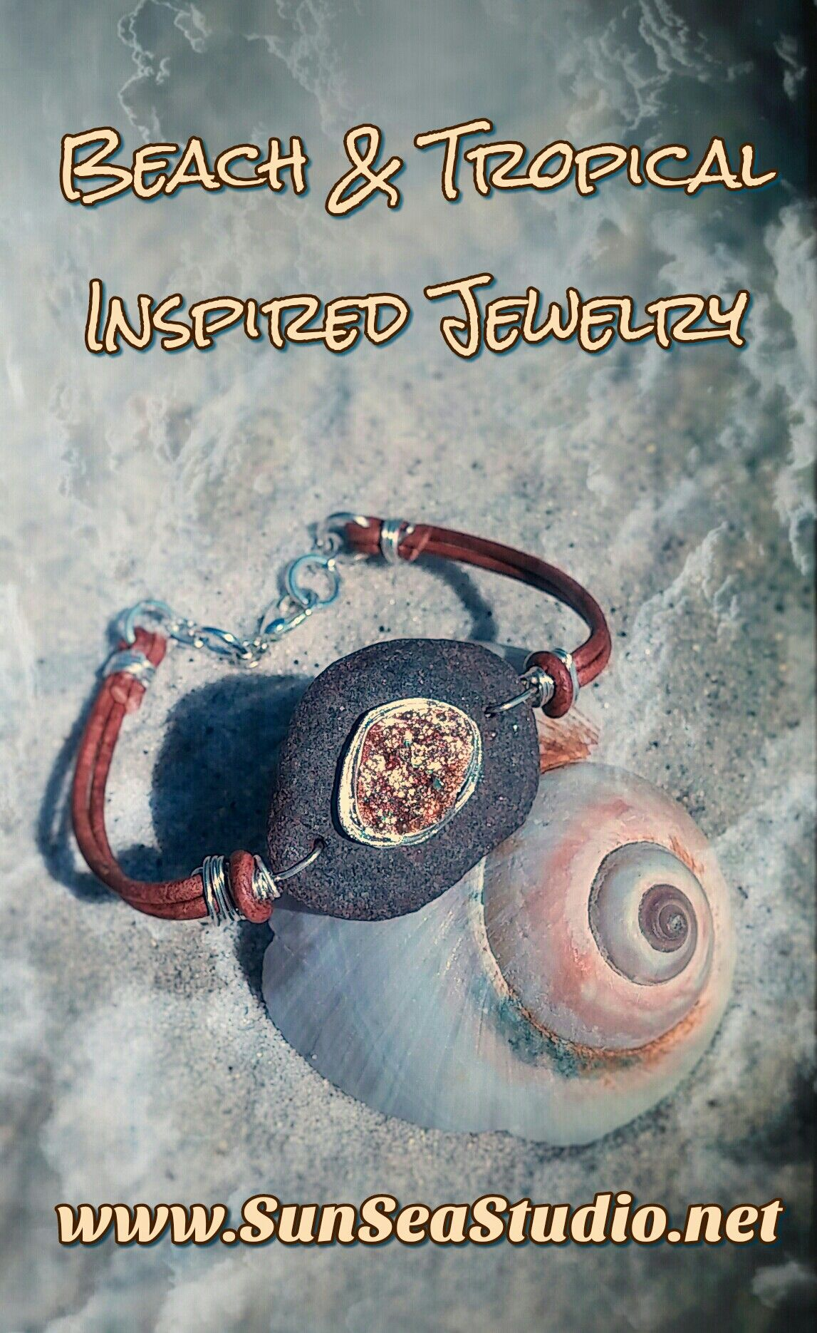 Gold beach crystal bracelet tropical beach jewelry glam bracelet