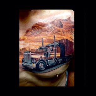 18 Wheelers In Tattoos Google Search Tattoo Ideas Truck Tattoo