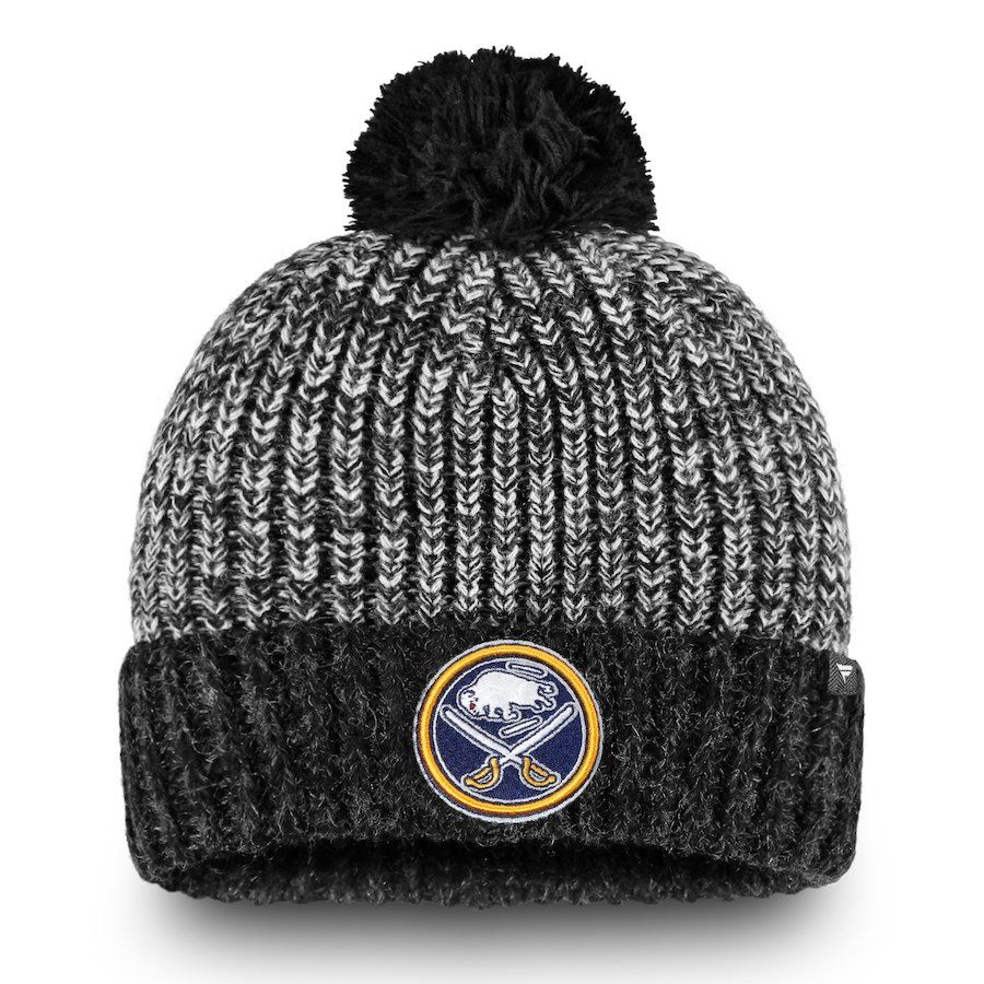 5a160aaa9d3e2 Men s Buffalo Sabres Fanatics Branded Black Iconic Cuffed Knit Hat with  Pom