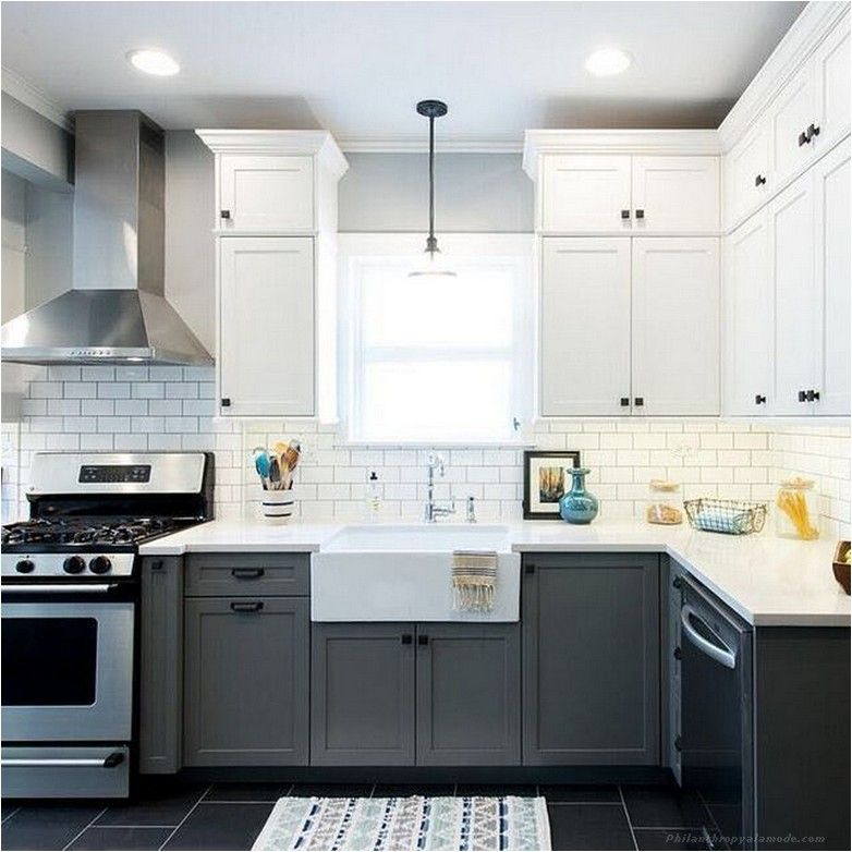Best 90 Fashionable White And Grey Kitchen Cabinets Design 400 x 300