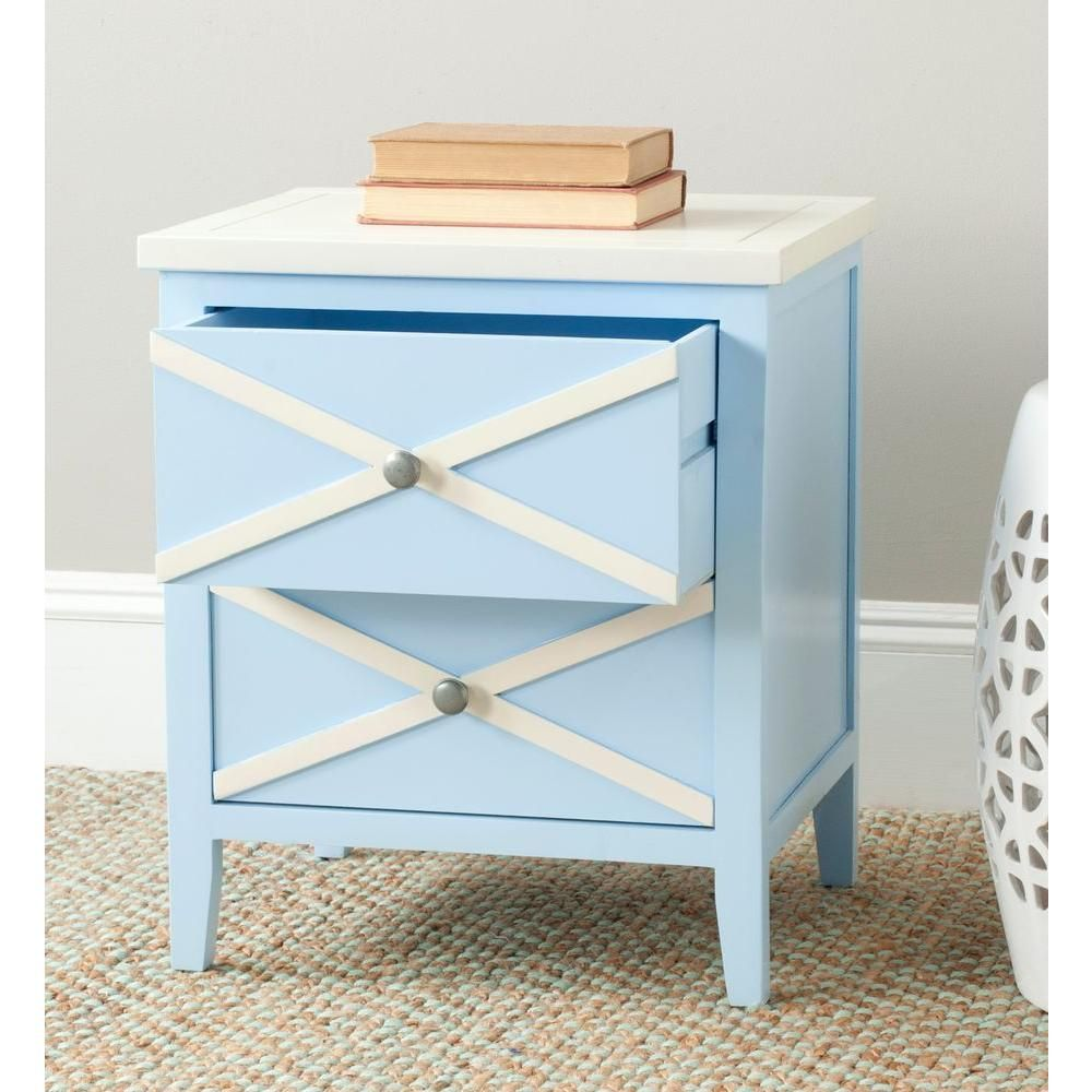Sherrilyn Light Blue Side Table With 2 Drawer Blue Side Table Side Table Home Decor