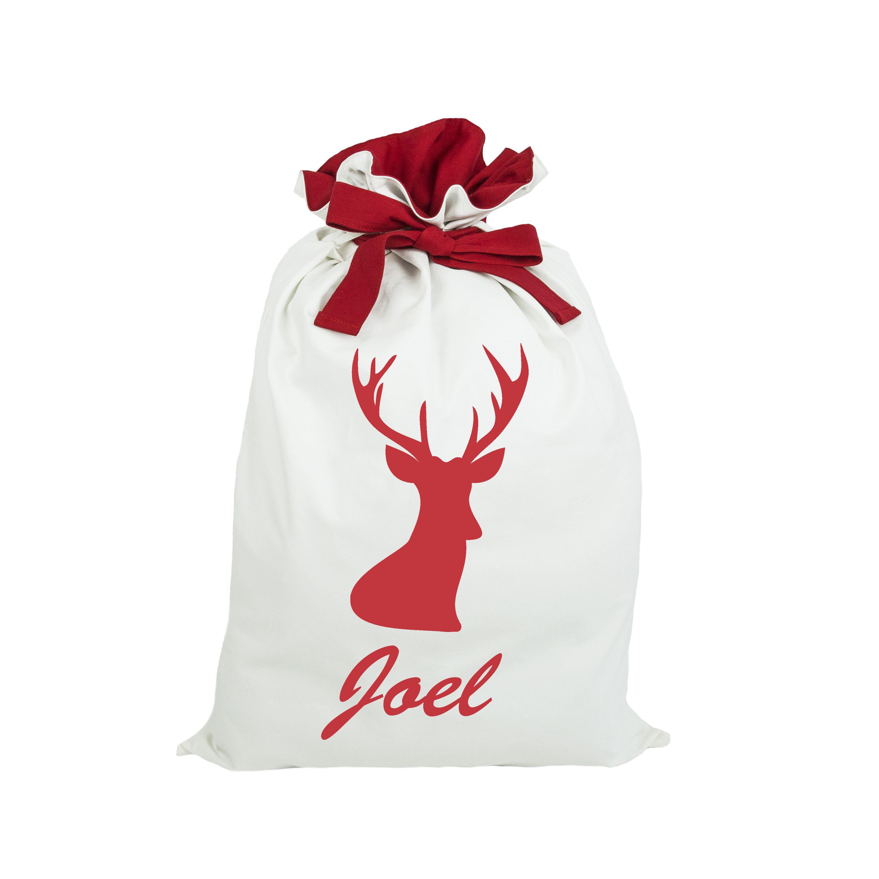 Christmas Santa sack personalised. Red reindeer Santa sack