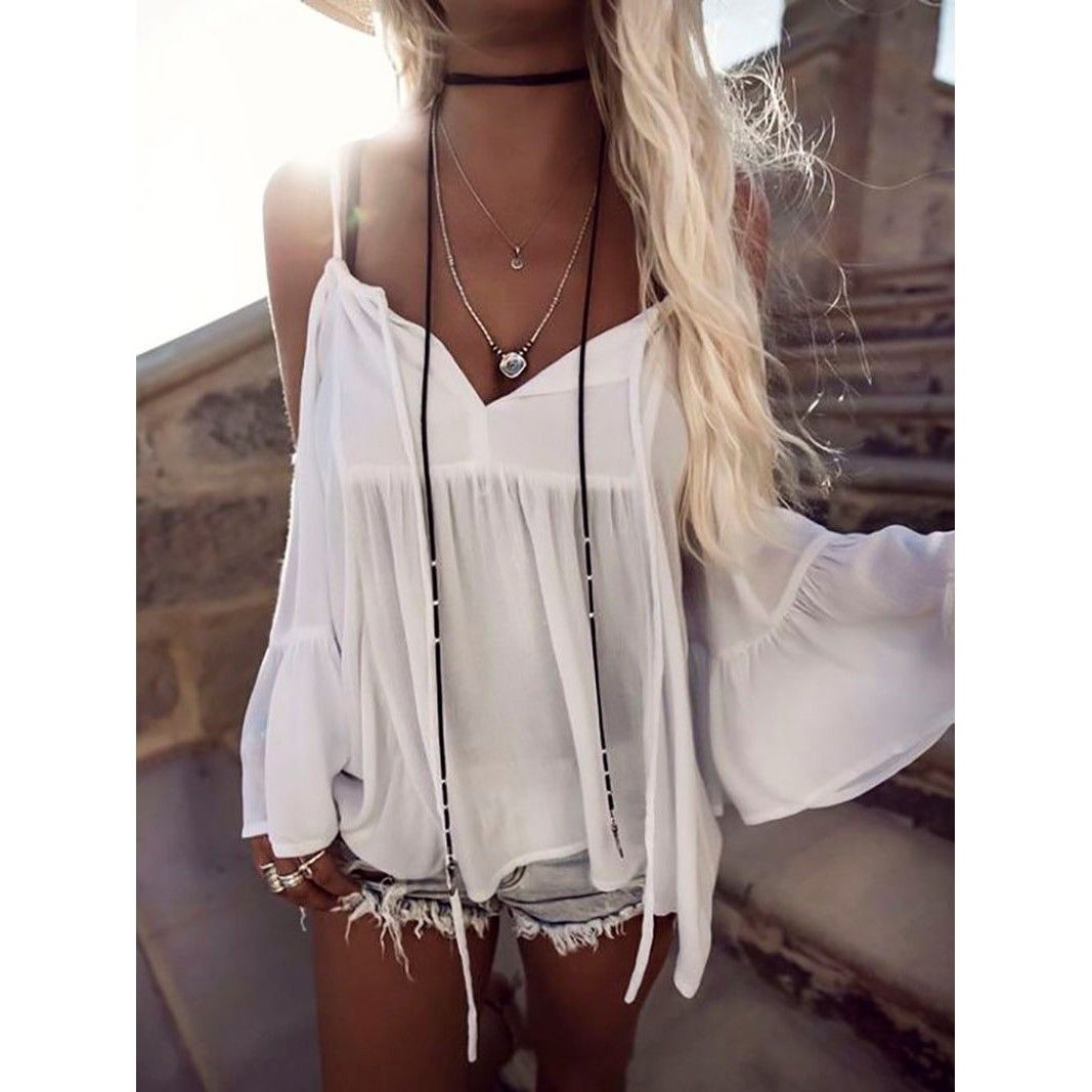 6ea670937070 Women Sexy Off Shoulder Summer Tops Long Sleeve Shirt Casual Loose White  Blouse Boho Beach harajuku blusa feminina dames kleding