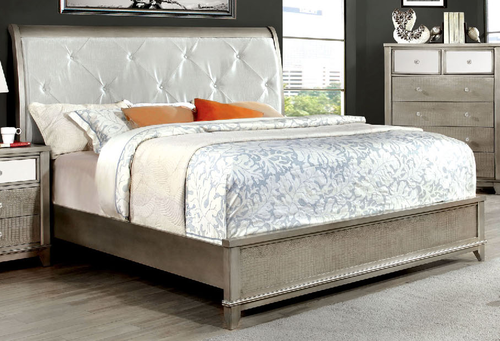 Furniture of America Silver Bryant Collection California King Size Bed CM7288SV-CK