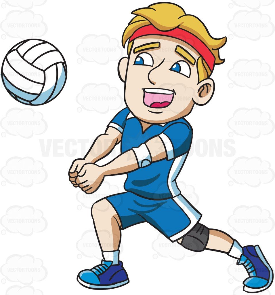 A Male Athlete Playing Volleyball Athletic Men Volleyball Cartoon Kids