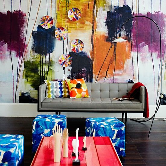 Colourful painterly living room.