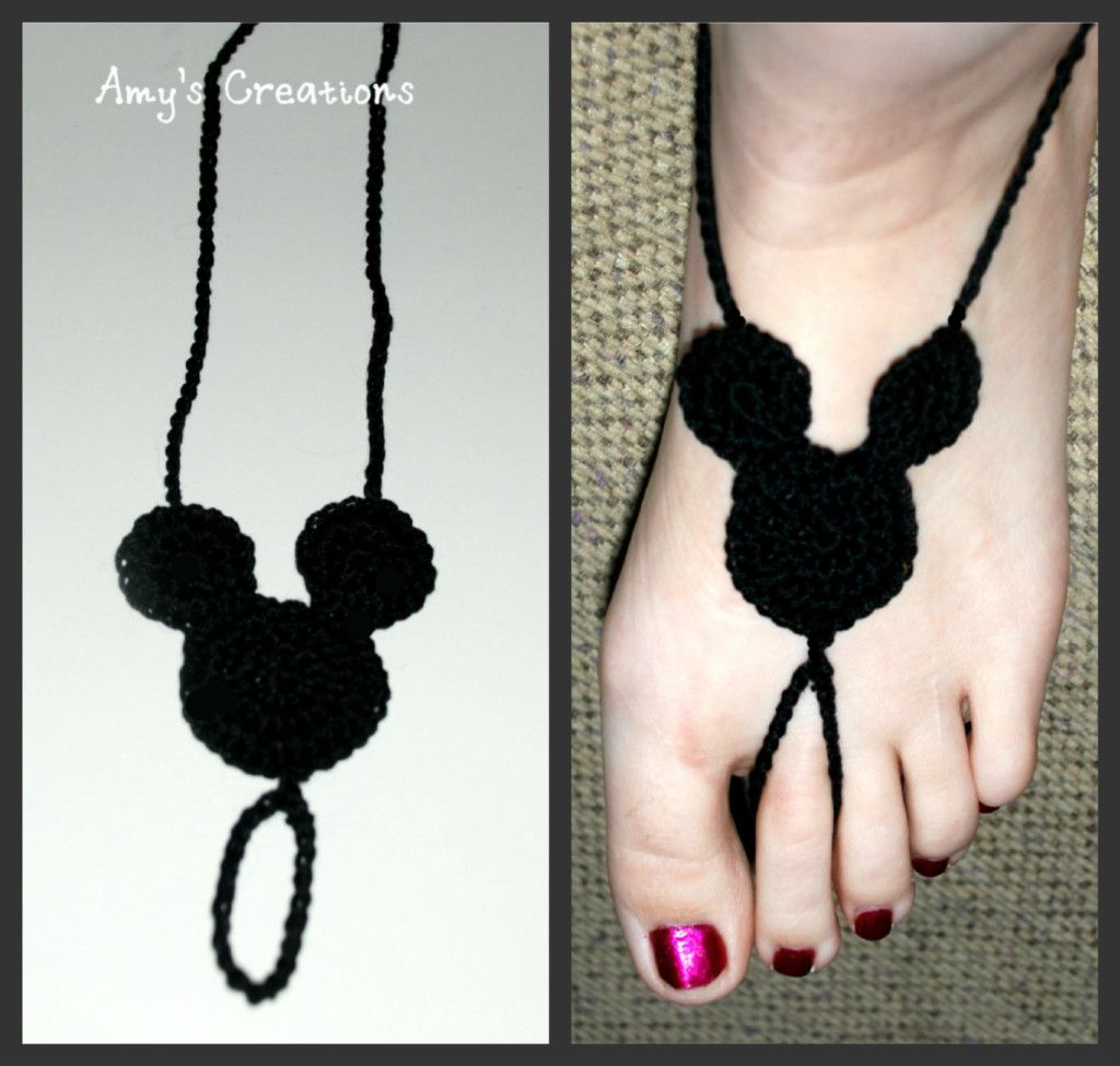 Crochet Mickey Mouse Barefoot Sandal | See what a hooker can do ...