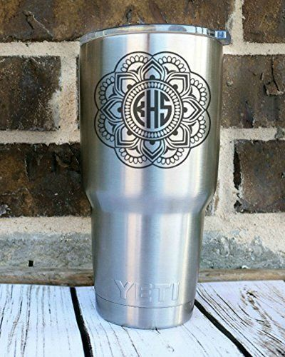 Custom Mandala Monogram Decal Personalized Vinyl Decal For Yeti - Car window vinyl decals custom
