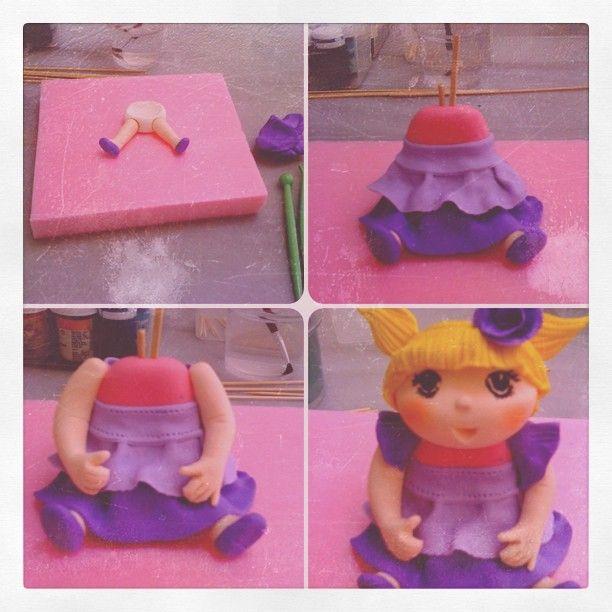 step by step making a little girl sugar figure