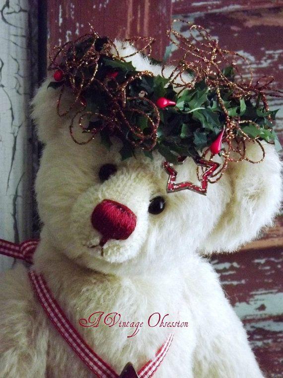 Handmade Cream Alpaca Teddy Bear by by AVintageObsession on Etsy