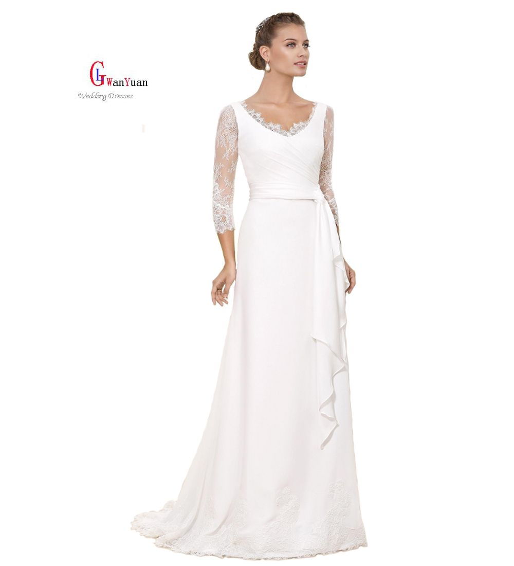 Wedding dresses v neck  Wedding Dresses  Chiffon Lace Three Quarter ALine Boho Wedding