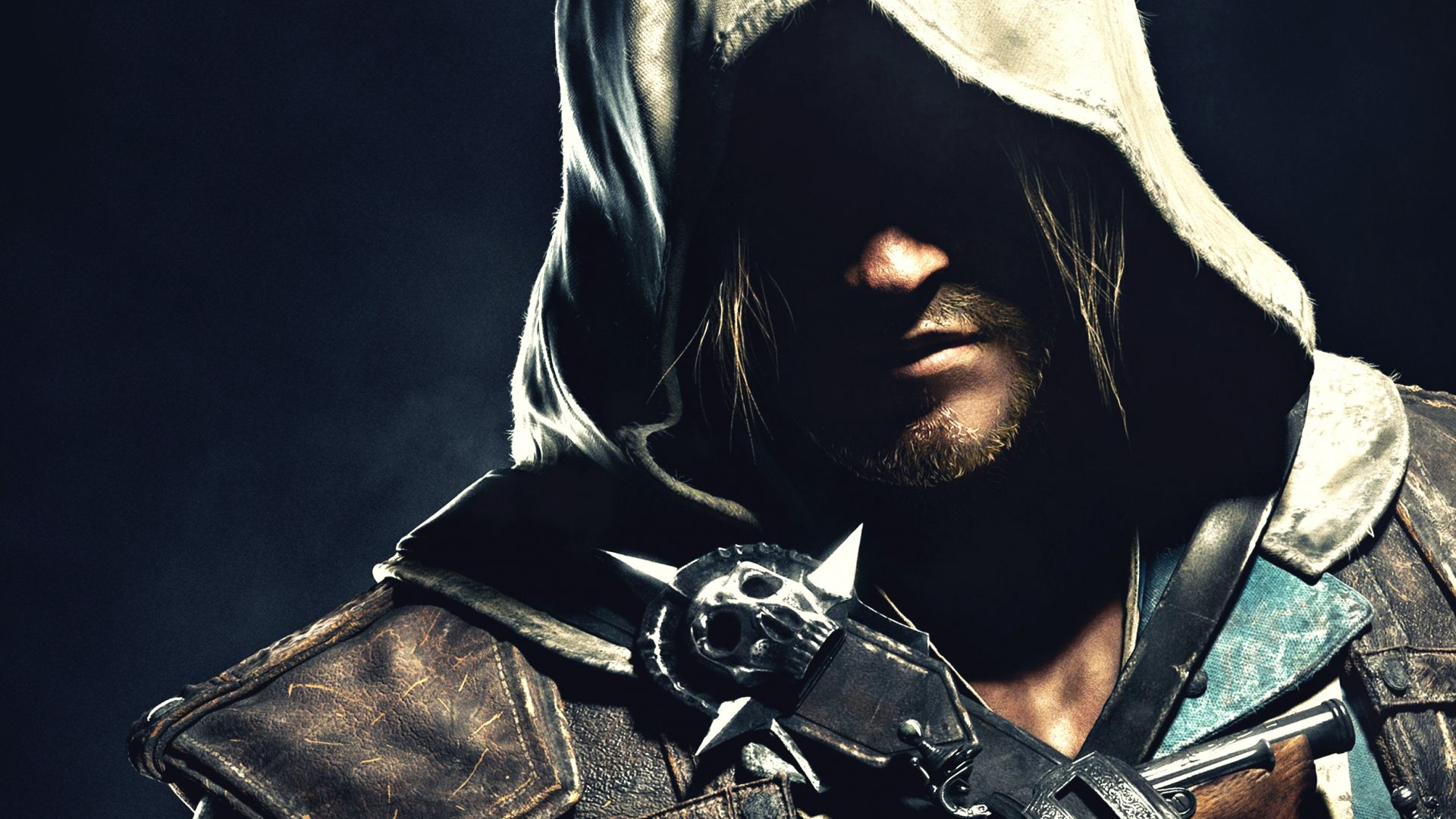1920x1080 Wallpaper edward kenway, hood, face, shadow