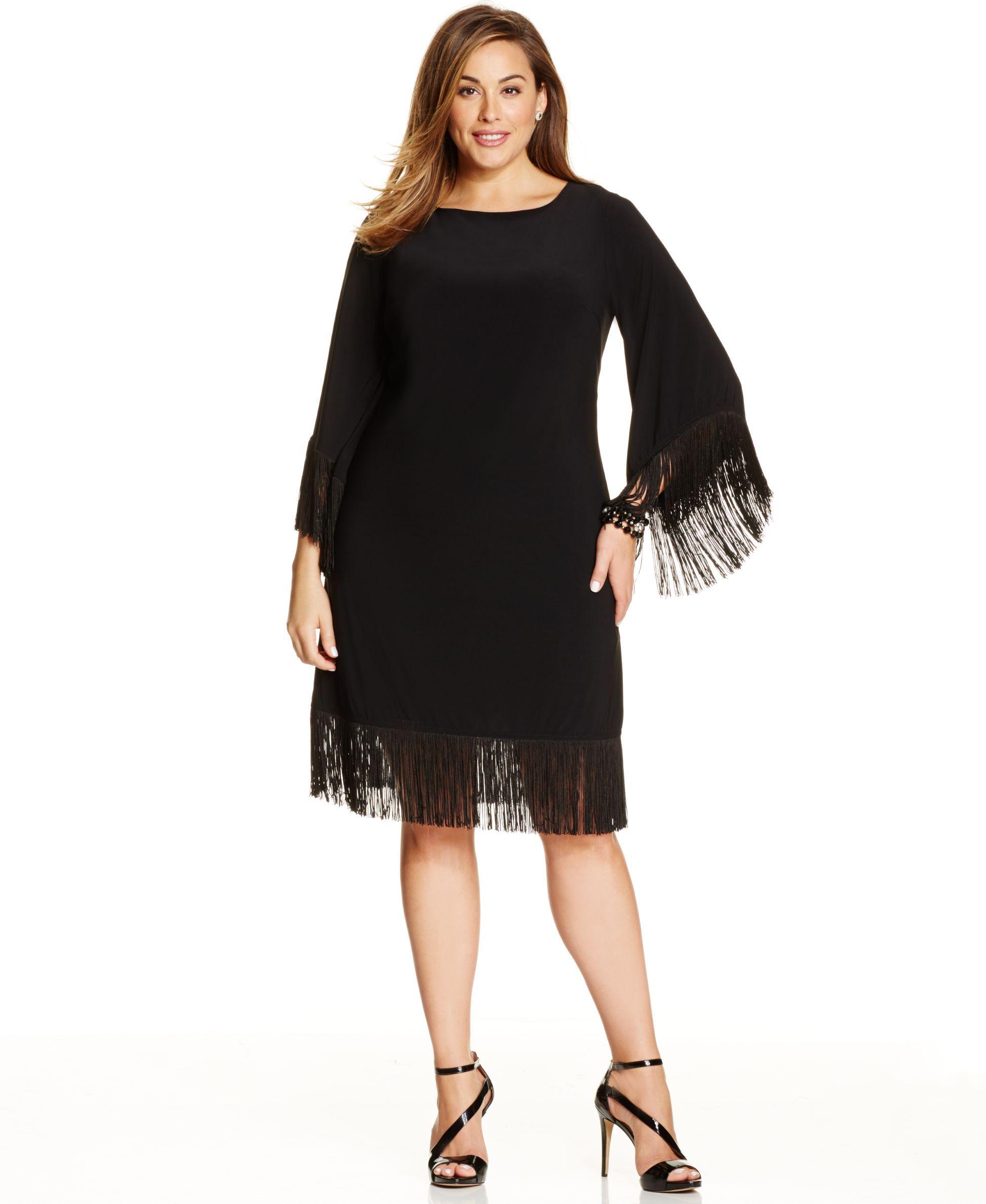 R&M Richards Plus Size Fringe-Trim Shift Dress | Products | Dresses ...