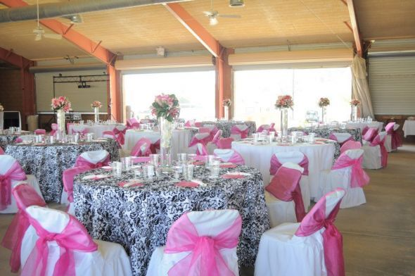 Wedding Flowers Pink Silver And Black Damask Reception