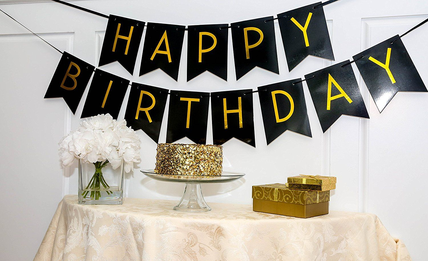 Black Happy Birthday Bunting Banner With Shimmering Gold Letters