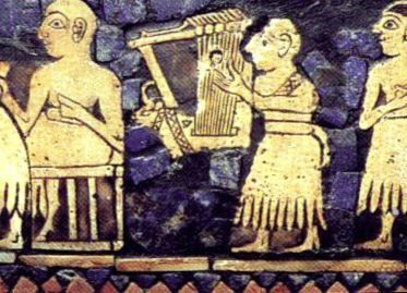Musician playing a bull-headed lyre.  Detail from the Royal Standard of Ur. The woman, probably a singer, is the only woman pictured on the .Standard of Ur