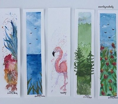 Hand Painted Watercolour Bookmark With Images Watercolor