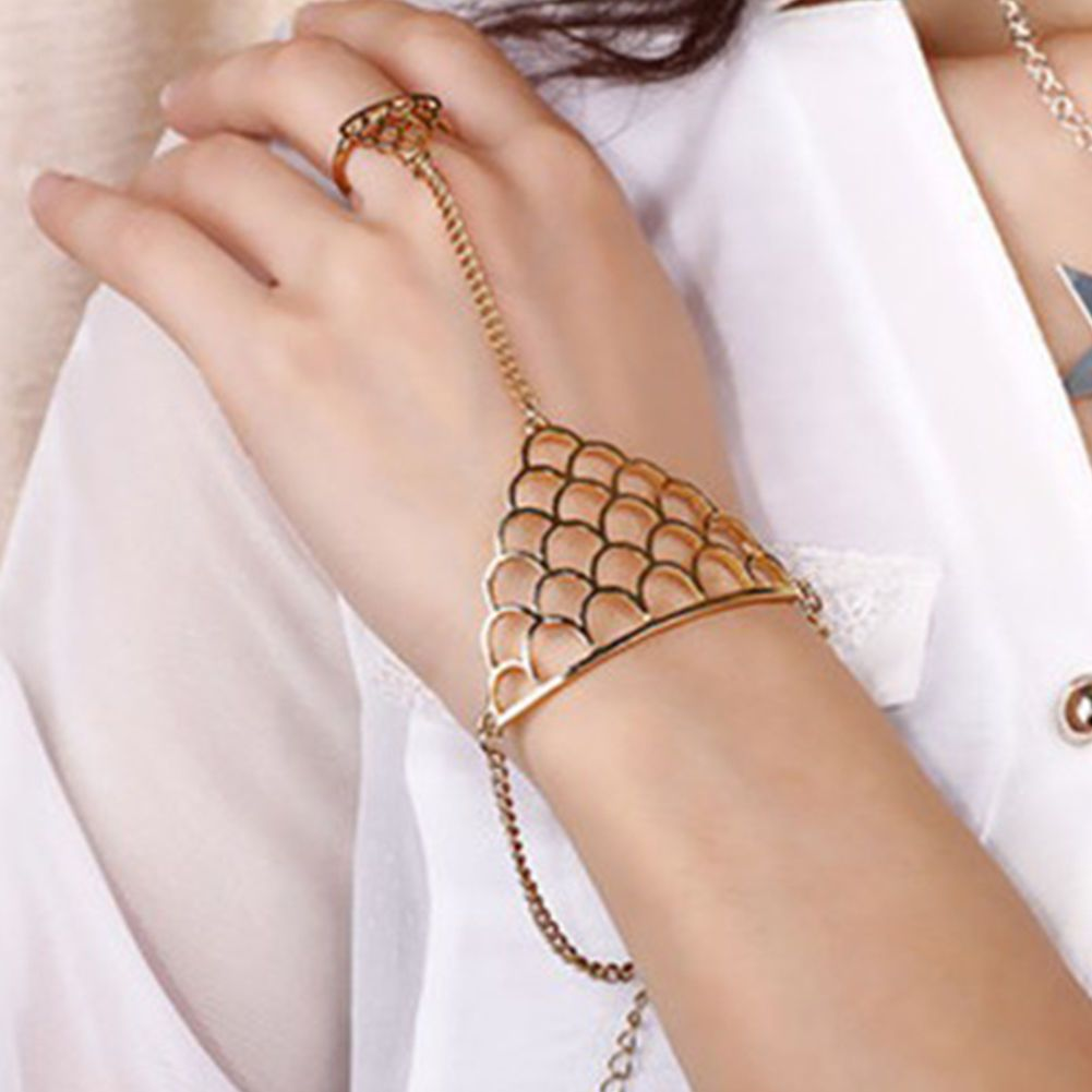 Women finger slave chain link ring triangle hand harness bangle
