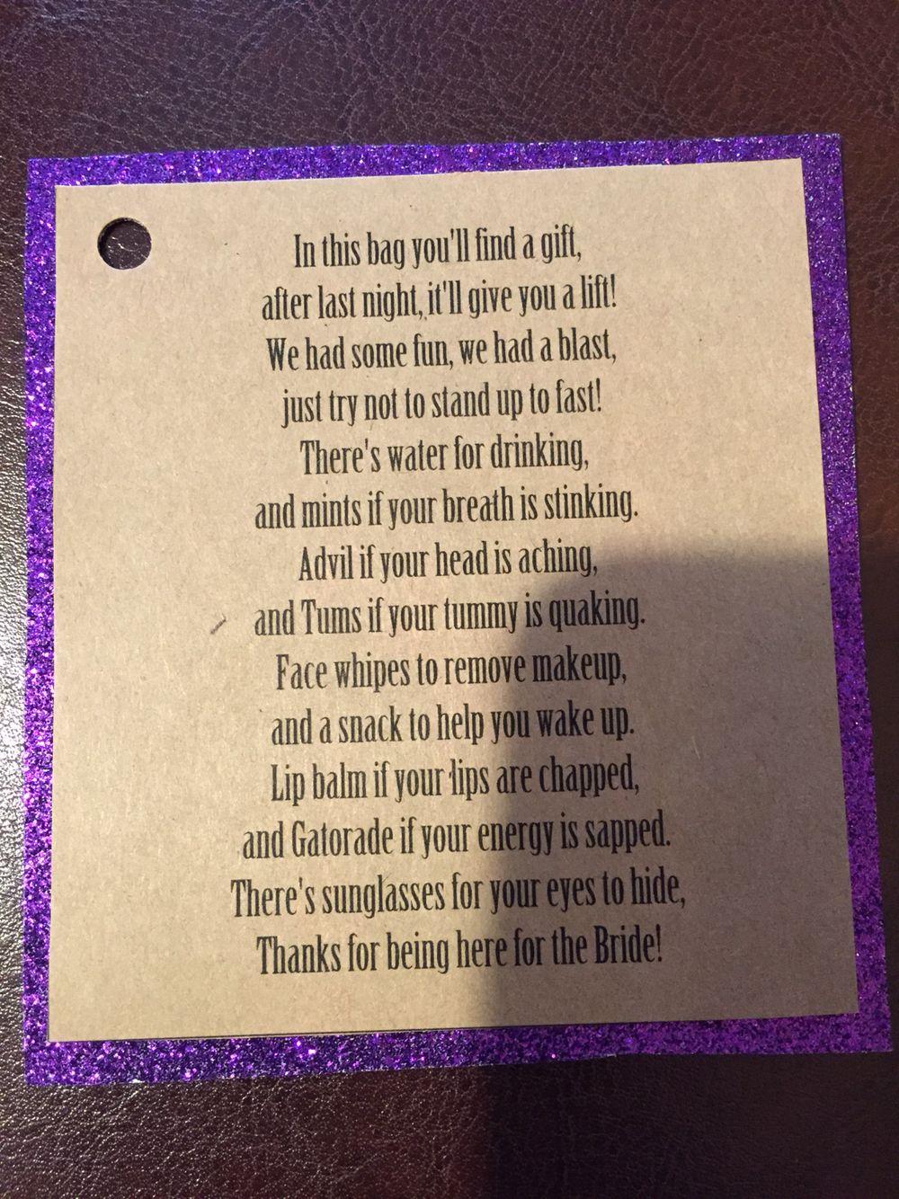 Bachelorette party oh shit kit poem | Bachelorette Party Stuff ...