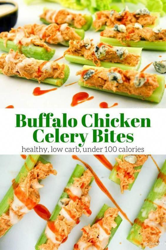 Buffalo Chicken Celery Bites stuffed with a light buffalo chicken salad with topped with ranch or blue cheese make the perfect healthy appetizer or snack with under 100 calories for four bites. #recipe #foodideas #healthy #appetizer #HealthFoodNutrition