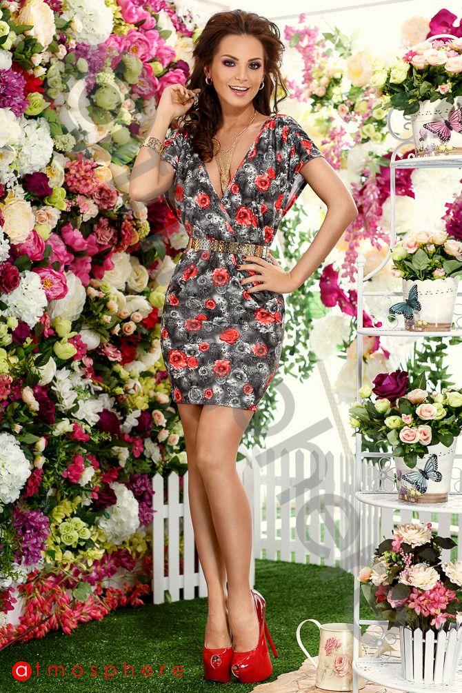 Oferta speciala: Rochie scurta bumbac imprimeu floral Rn 168