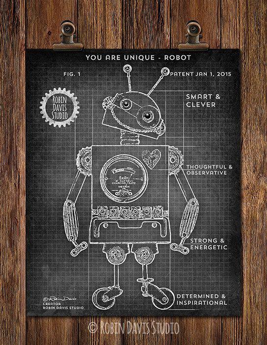 Robot blueprint 8x10 patent print robot kids by robindavisstudio robot blueprint 8x10 patent print robot kids by robindavisstudio malvernweather Gallery