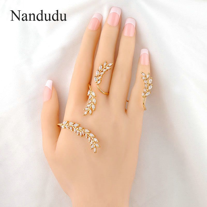 Nandudu Women Palm Cuff AAA Zirconia Hand Bangle Punk Yellow Gold