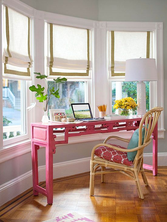 Bay Window Desk With Roman Shades Don't Like The Pink But The Fascinating Ideas For Bay Windows In A Living Room Concept