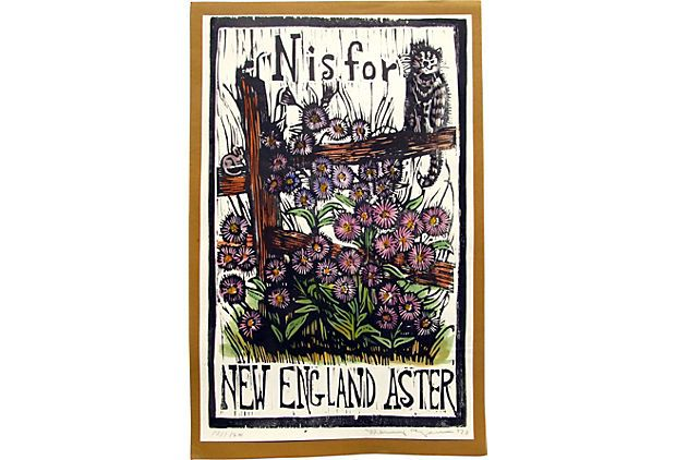 N Is For New England Aster Original Hand Colored Woodblock Print By Mary Azarian On Kings Lane Vintage Market Finds Ruby George