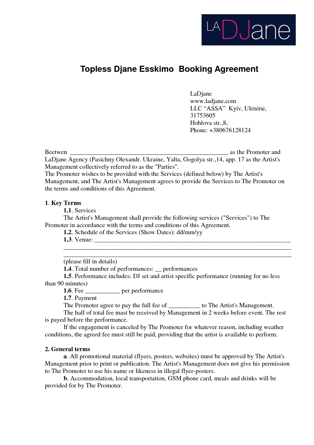 Agreements And Contracts Book images dj agreement – Booking Agent Contract Template