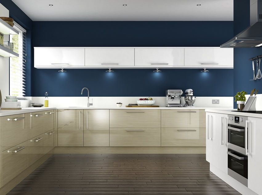 Dark Blue Painted Kitchen With Cream Cabinets And Modern Design.