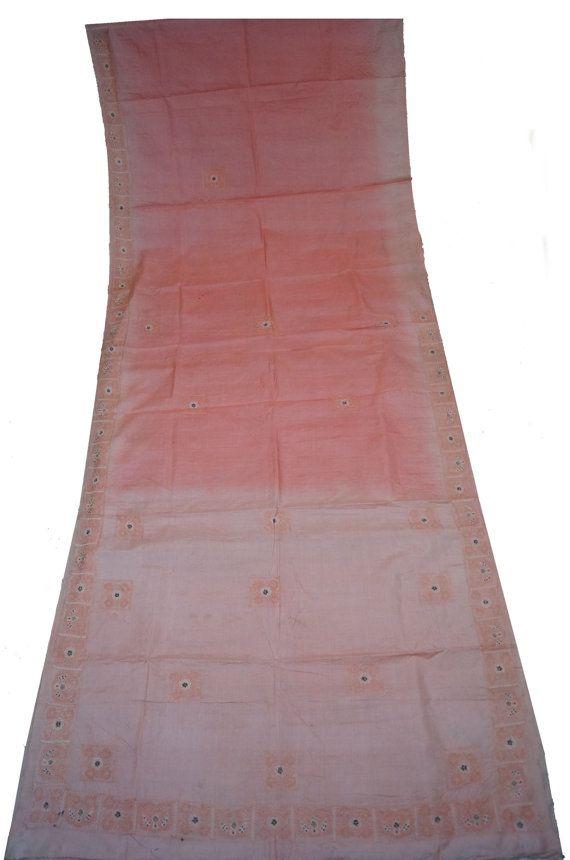 Art Silk Sari Sarong Dress Wrap  Thread Work Women Wrap Decorative Fabric Recycle Curtain Drape 5YD Sari -ASS750