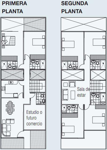Planos de vivienda en 140 m2 de terreno 3 pisos www for Planos arquitectonicos de casas