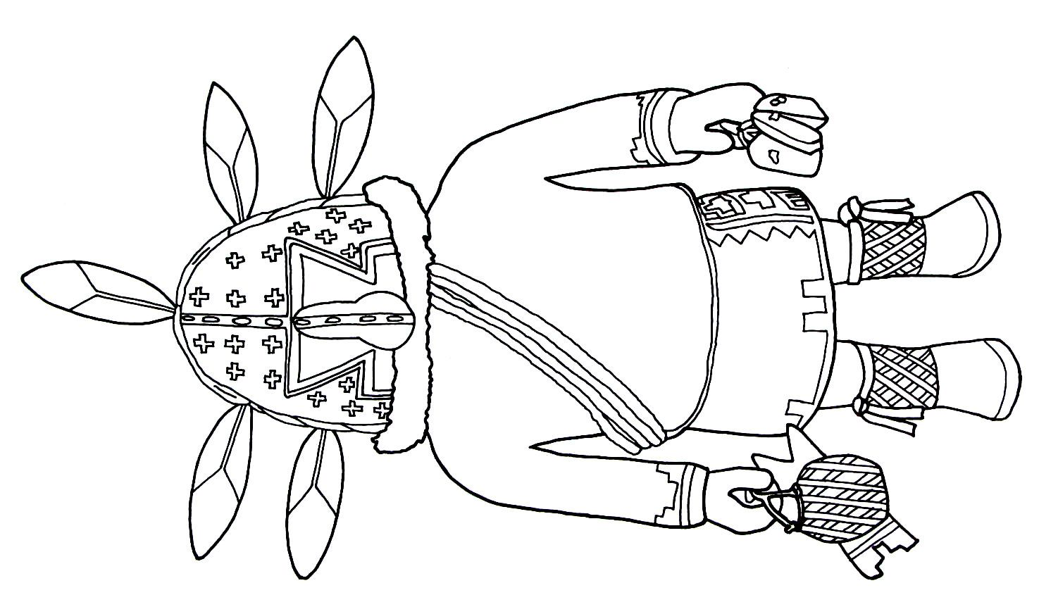 Kachina Doll Representing Ahola From The Hopi Indians Printable Coloring Book Page