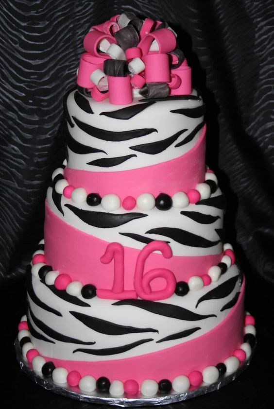 Sweet 16 Cakes For Girls Zebra Sweet 16 Birthday Cake Source