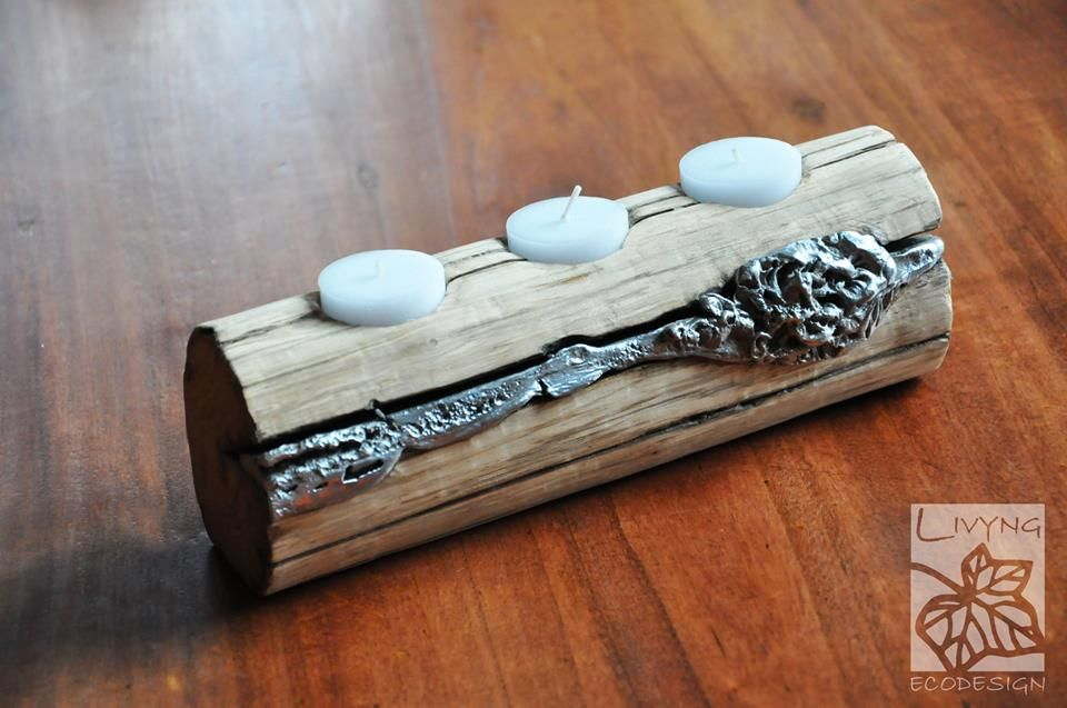 Candle holder Discrete light corners with a personality that embodies the mistery of nature. aluminum melted on wood  #LivyngEcodesign #naturalwood #aluminum
