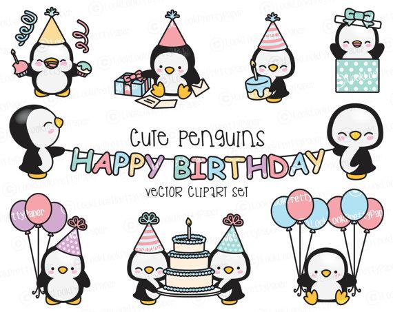Premium Vektor Clipart Kawaii Geburtstag Pinguine