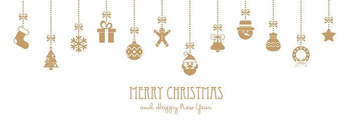 Montaje De Navidad Doradas Y Elementos Texto Felicitacion Ilustracion