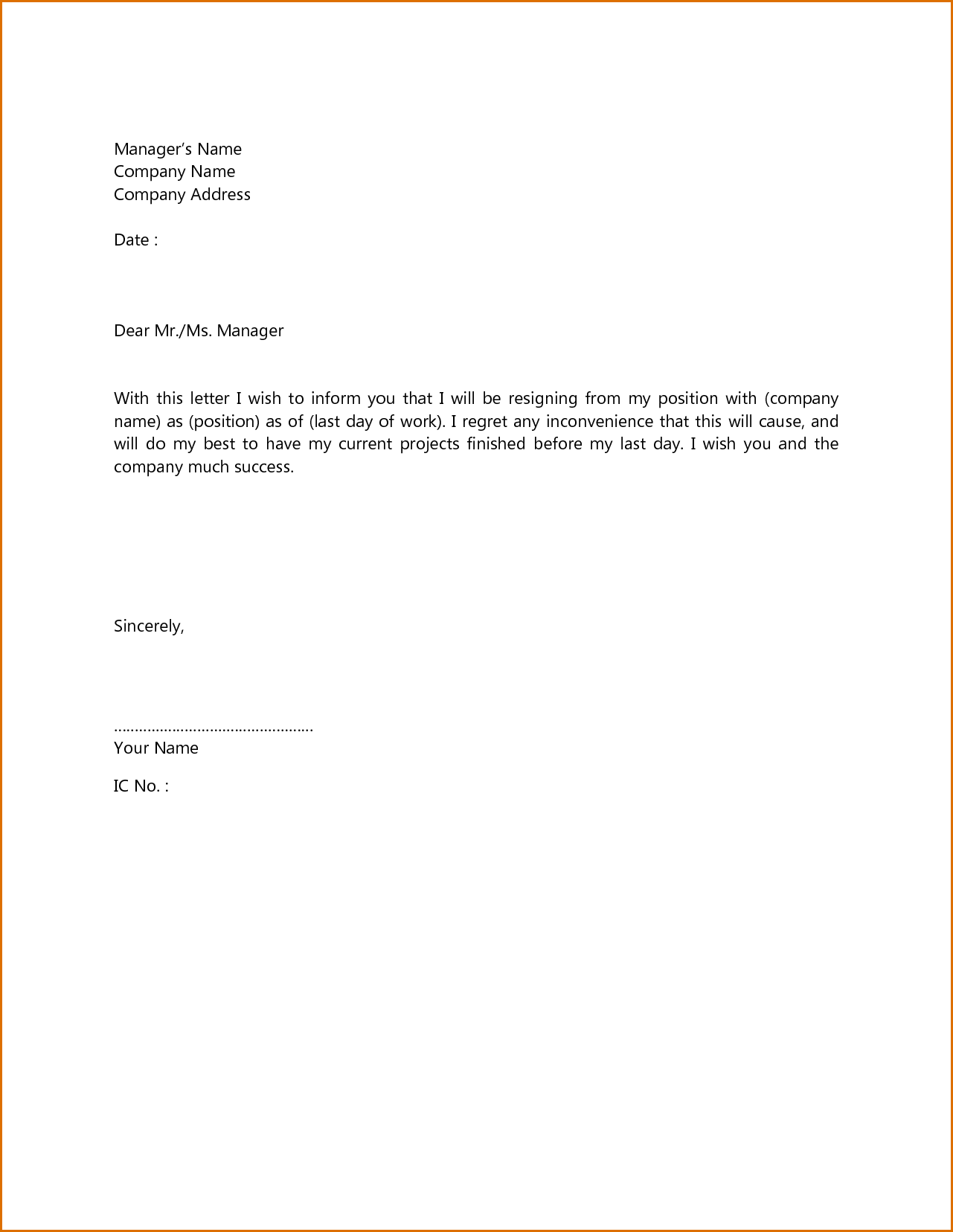 Simple Format Of Resignation Letter